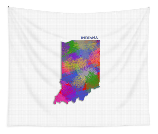 Indiana, Usa, Map, Artist Singh - Tapestry