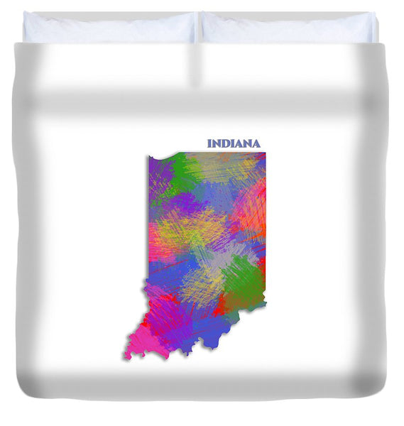 Indiana, Usa, Map, Artist Singh - Duvet Cover