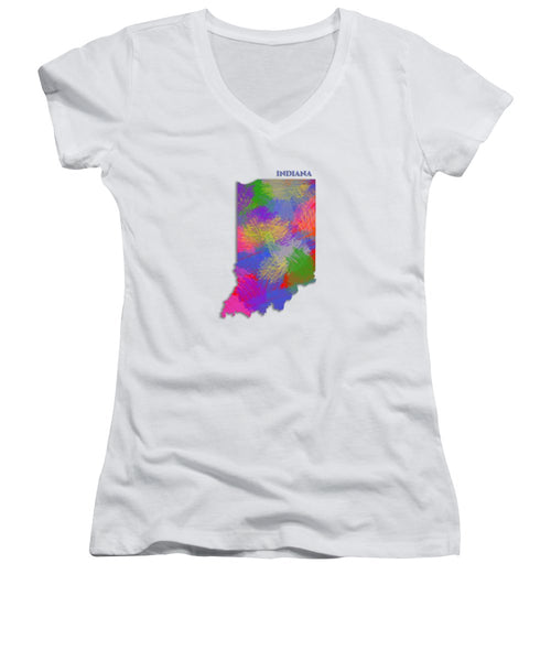 Indiana, Usa, Map, Artist Singh - Women's V-Neck