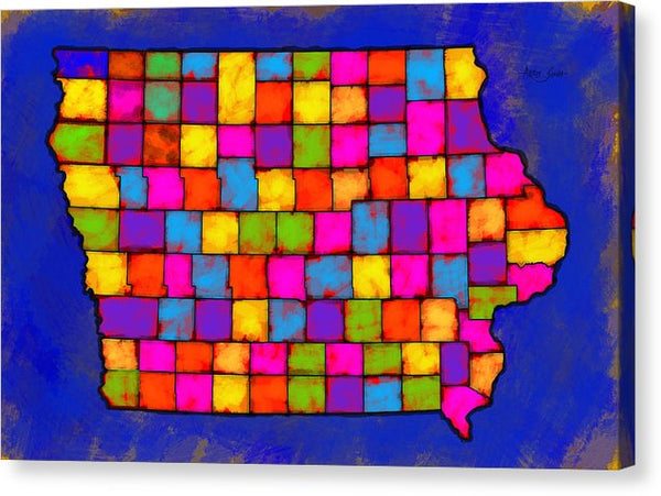 Iowa Map, Landscape, Areal View, Artist Singh - Canvas Print