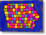 Iowa Map, Landscape, Areal View, Artist Singh - Metal Print