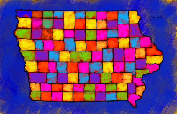 Iowa Map, Landscape, Areal View, Artist Singh - Art Print