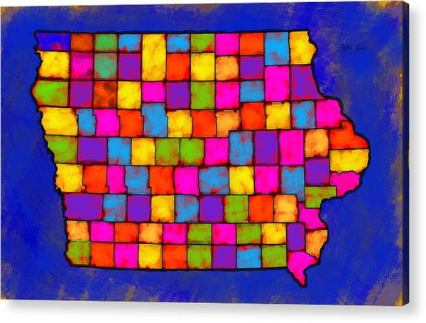 Iowa Map, Landscape, Areal View, Artist Singh - Acrylic Print