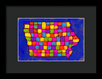 Iowa Map, Landscape, Areal View, Artist Singh - Framed Print