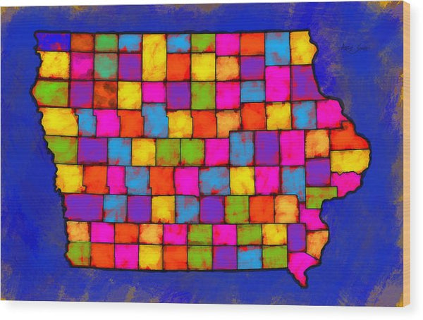 Iowa Map, Landscape, Areal View, Artist Singh - Wood Print