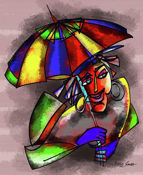 Lady With Umbrella, Artist Singh - Art Print