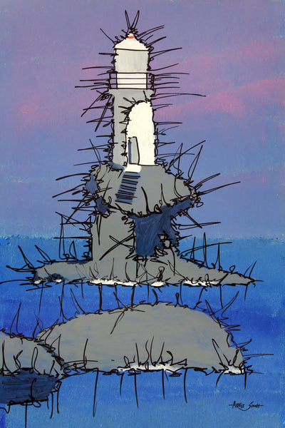 "LIGHT HOUSE, 7833, Artist SinGh, 24""x36, mixed media on paper"