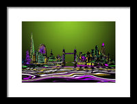 London Skyline Green - Framed Print