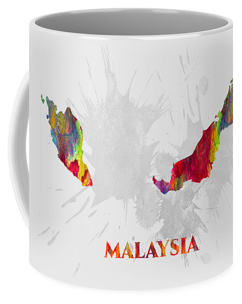 Malaysia, Country Map, Water Color, Artist Singh - Mug
