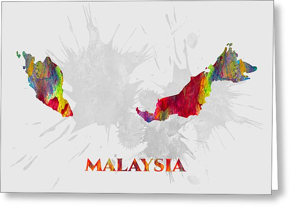 Malaysia, Country Map, Water Color, Artist Singh - Greeting Card