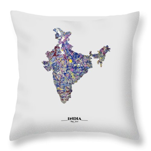 Map Of India, Drip Art, Artist Singh - Throw Pillow