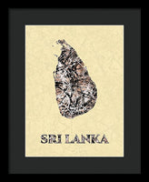 Map Of Sri Lanka, Drip  Art , Artist Singh - Framed Print