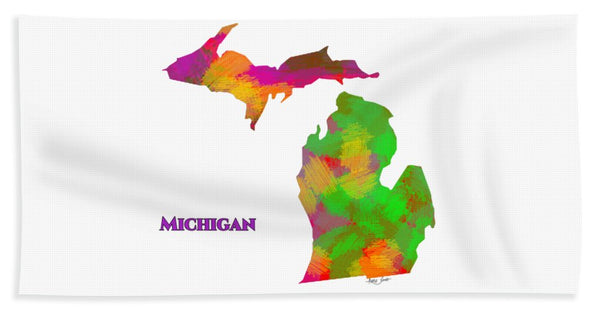 Michigan- Usa Map By Artist Singh - Bath Towel