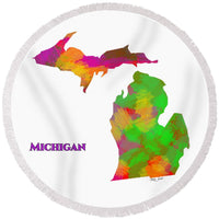 Michigan- Usa Map By Artist Singh - Round Beach Towel