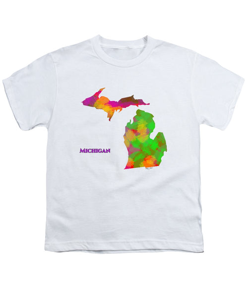 Michigan- Usa Map By Artist Singh - Youth T-Shirt