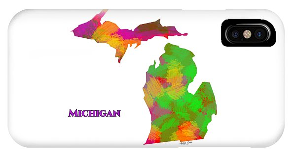 Michigan- Usa Map By Artist Singh - Phone Case