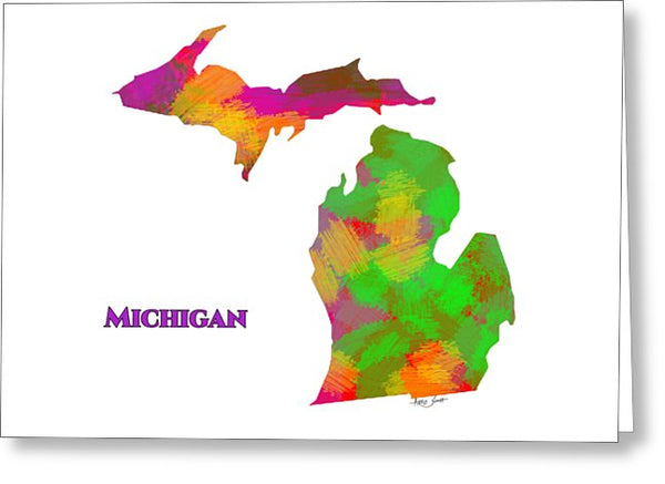 Michigan- Usa Map By Artist Singh - Greeting Card
