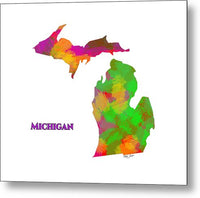 Michigan- Usa Map By Artist Singh - Metal Print