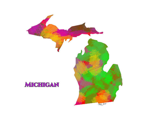 Michigan- Usa Map By Artist Singh - Art Print