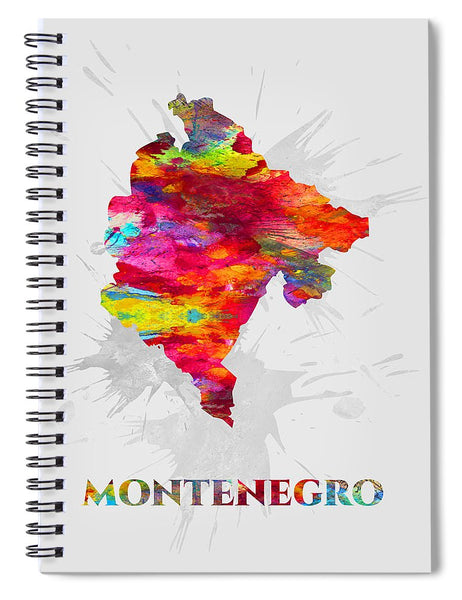Montenegro, Map, Artist Singh - Spiral Notebook