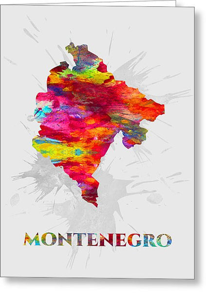 Montenegro, Map, Artist Singh - Greeting Card