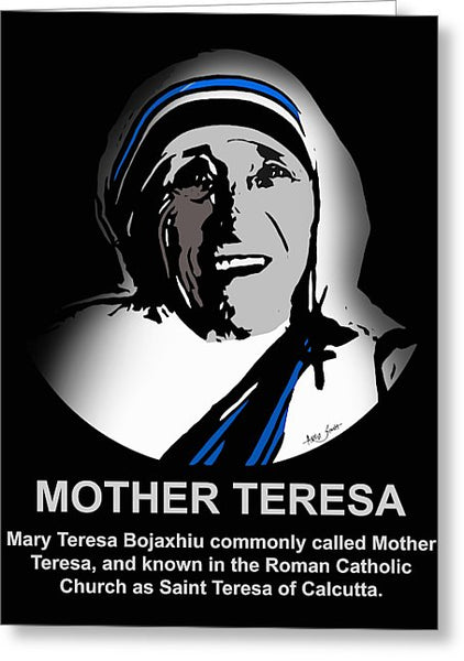 Mother Teresa  Artist Singh - Greeting Card