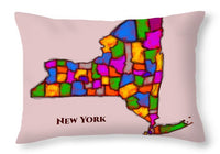 New York, Areal View, Map, Artist Singh - Throw Pillow
