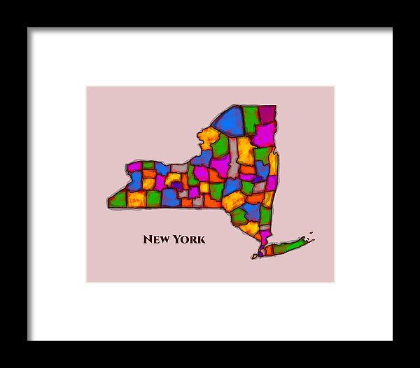 New York, Areal View, Map, Artist Singh - Framed Print