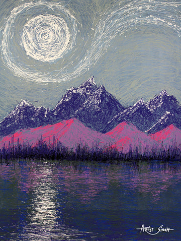 purple mountains by artist singh