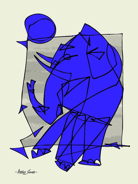 The Blue Elephant, Artist Singh - Art Print