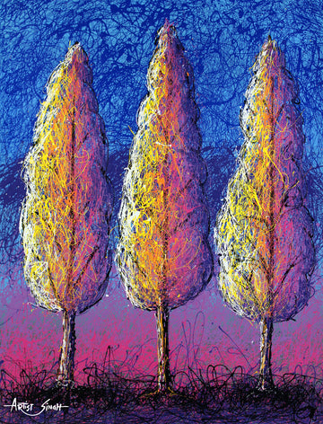 three trees drip painting by artist singh