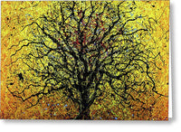 Tree 7893, Drip Painting, Artist Singh, 48x48 Inches  - Greeting Card
