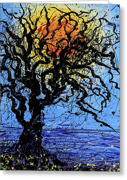 Tree, 7899, Artist Singh,  24x20, Drip Painting - Greeting Card