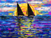 Two Boats, Water Series, Artist Singh - Art Print