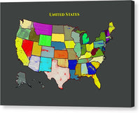 United States Map A20 - Canvas Print