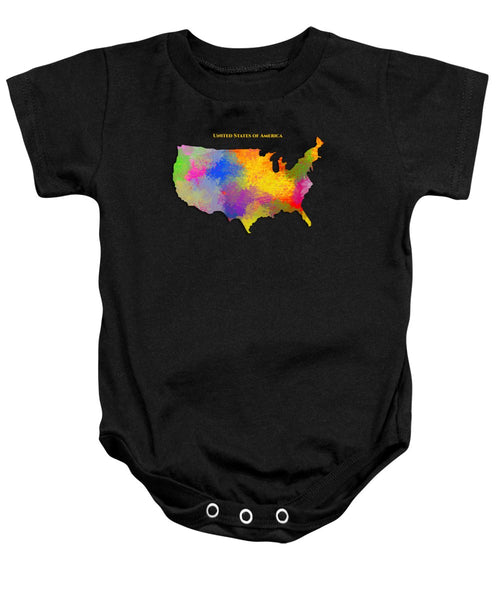 United States Of America, Map, Artist Singh - Baby Onesie