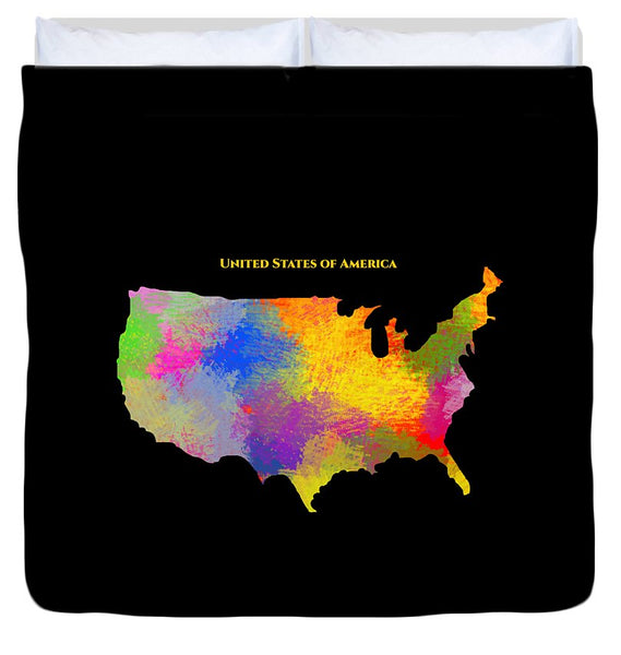 United States Of America, Map, Artist Singh - Duvet Cover