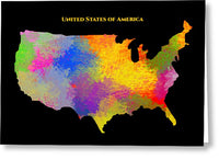 United States Of America, Map, Artist Singh - Greeting Card