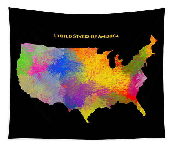 United States Of America, Map, Artist Singh - Tapestry