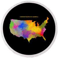 United States Of America, Map, Artist Singh - Round Beach Towel