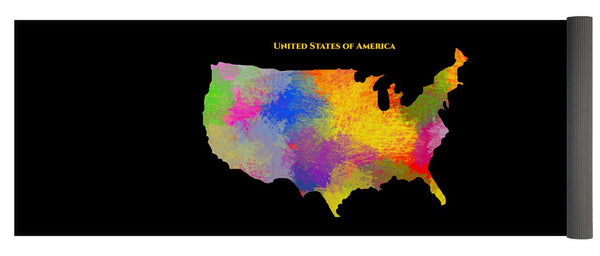 United States Of America, Map, Artist Singh - Yoga Mat