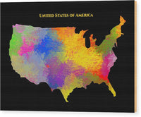 United States Of America, Map, Artist Singh - Wood Print