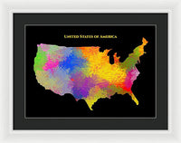 United States Of America, Map, Artist Singh - Framed Print