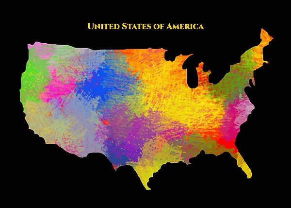 United States Of America, Map, Artist Singh - Art Print