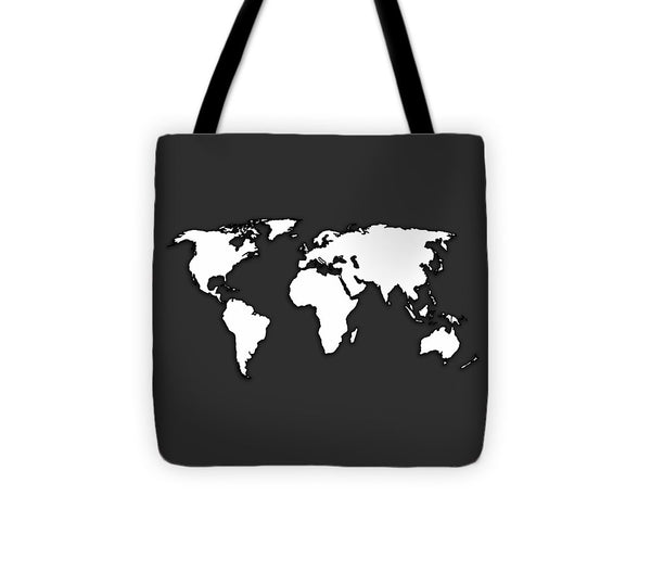 White And Dark Grey World Map By Artist Singh - Tote Bag