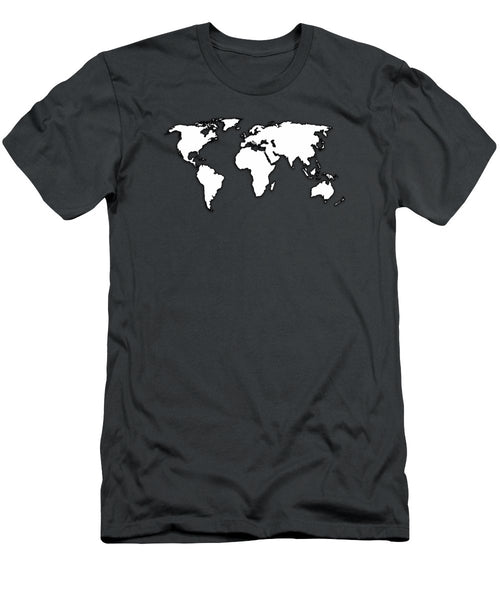 White And Dark Grey World Map By Artist Singh - Men's T-Shirt (Athletic Fit)