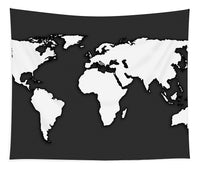 White And Dark Grey World Map By Artist Singh - Tapestry