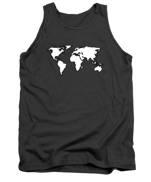 White And Dark Grey World Map By Artist Singh - Tank Top