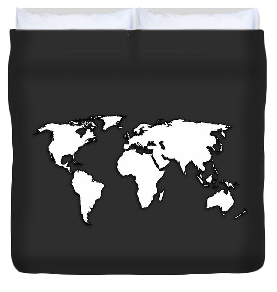 White And Dark Grey World Map By Artist Singh - Duvet Cover