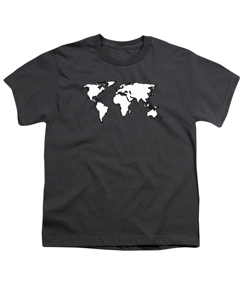 White And Dark Grey World Map By Artist Singh - Youth T-Shirt
